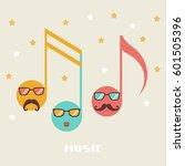 vector cartoon notes with face. ... | Shutterstock .eps vector #601505396
