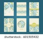 vector set of flower design... | Shutterstock .eps vector #601505432
