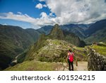 young adventure girl traveler... | Shutterstock . vector #601524215