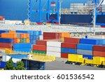 port cargo crane  ship and... | Shutterstock . vector #601536542