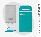 stainless refrigerator with... | Shutterstock .eps vector #601554722