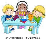 a small group of kids making... | Shutterstock .eps vector #60159688