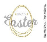 vector happy easter silver gray ... | Shutterstock .eps vector #601603196