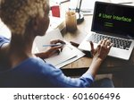 computer screen show about user ... | Shutterstock . vector #601606496