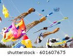 various colorful kites flying... | Shutterstock . vector #601607675