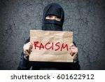 muslim girl in black hijab... | Shutterstock . vector #601622912