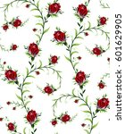 pattern of rose flowers on a... | Shutterstock .eps vector #601629905