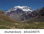 View to the South Face of Mount Aconcagua 6961 meters above sea level the highest peak of Andes, Argentina.