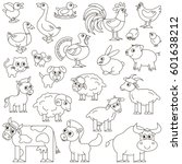 farm animals set in vector  the ... | Shutterstock .eps vector #601638212