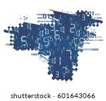 digital numbers background.... | Shutterstock .eps vector #601643066