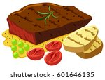 beef steak and vegetables...   Shutterstock .eps vector #601646135