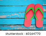 Red And Green Flip Flop Sandal...