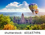 angkor wat temple with balloon  ... | Shutterstock . vector #601657496