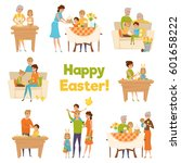 family easter big set with flat ... | Shutterstock .eps vector #601658222