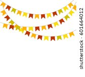 colorful bunting and garlands...   Shutterstock . vector #601664012