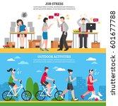 job stress and ourdoor ways of...   Shutterstock .eps vector #601677788