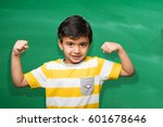 cute little indian school boy... | Shutterstock . vector #601678646