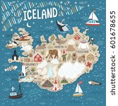 vector stylized map of iceland. ... | Shutterstock .eps vector #601678655