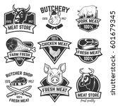 set of fresh beef labels... | Shutterstock .eps vector #601679345