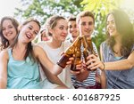 group of students partying... | Shutterstock . vector #601687925