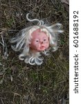 Small photo of Concept. Conceptual image: Abandoned person. Unnecessary things; Ended happy childhood. Head from an old vintage broken children's doll is thrown on lawn. Theme of love, separation, death and betrayal