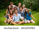 group of young people sitting... | Shutterstock . vector #601693982