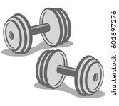 dumbbells icon. cartoon vector... | Shutterstock .eps vector #601697276