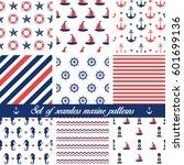set of seamless marine patterns.... | Shutterstock .eps vector #601699136