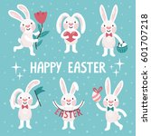 set of six cute easter rabbits. ... | Shutterstock .eps vector #601707218