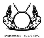 spartans with shield and spears. | Shutterstock .eps vector #601714592