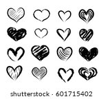 set of hand drawn red abstract... | Shutterstock . vector #601715402
