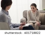 young female patient talking... | Shutterstock . vector #601718822