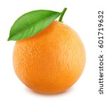 orange with leaf isolated on... | Shutterstock . vector #601719632