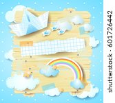Stock vector fantasy panel with paper boat and rainbow vector illustration 601726442