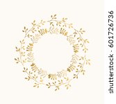 gold floral round frame. vector.... | Shutterstock .eps vector #601726736