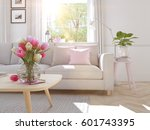 3d rendering. modern living... | Shutterstock . vector #601743395