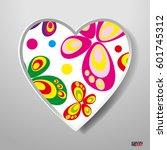 paper heart isolated on white...   Shutterstock .eps vector #601745312