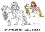 cute little princess riding on... | Shutterstock .eps vector #601752566