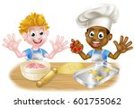 cartoon boys  one black one... | Shutterstock . vector #601755062
