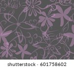 vintage flower and nature... | Shutterstock .eps vector #601758602