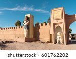 Small photo of OUARZAZATE, MOROCCO - JANUARY 5, 2017: Main entrance of the Atlas Studios. This film studio is located 5 km west of the city of Ouarzazate. Measured by acreage, it is the world's largest film studio.