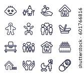 family icons set. set of 16... | Shutterstock .eps vector #601766816