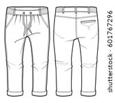 front and back view of joggers... | Shutterstock .eps vector #601767296