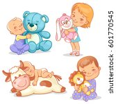 cute kids with plush toys. boy ... | Shutterstock .eps vector #601770545