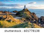 The lighthouse on Llanddwyn Island near Newborough on the Anglesey coast in Wales