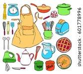 kitchen accessories. crockery ... | Shutterstock .eps vector #601778996