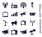 broadcast icons set. set of 16... | Shutterstock .eps vector #601779302