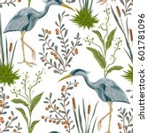 seamless pattern with heron... | Shutterstock .eps vector #601781096