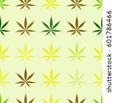 seamless pattern with cannabis... | Shutterstock .eps vector #601786466