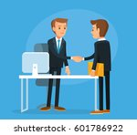 business meeting with shaking... | Shutterstock .eps vector #601786922